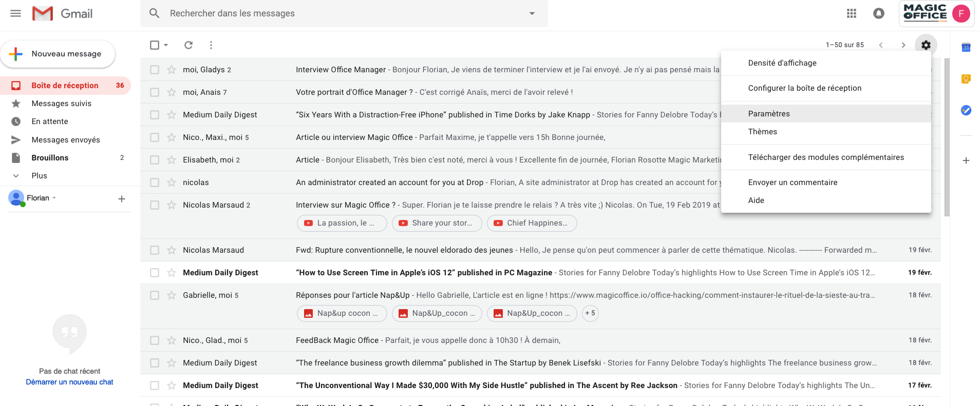 screenshot gmail paramètres