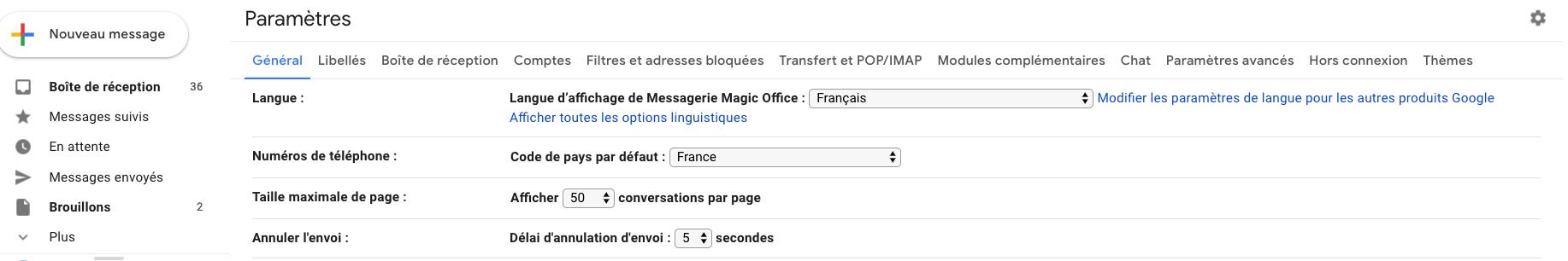 délai d'annulation gmail