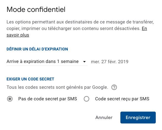 délai expiration gmail