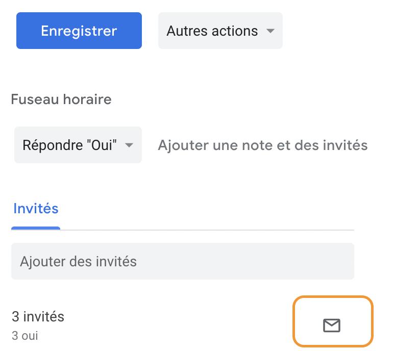 envoyer email participants réunion